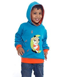 Nino Bambino Blue Full Sleeves Hooded Sweatshirt - Teddy Print
