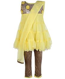 SAPS Yellow Sleeveless Kurta Chudidaar And Dupatta Set