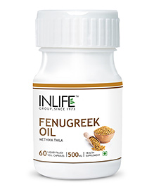 Inlife Fenugreek Oil Liquid Filled Capsules 60 Pieces - 500 Mg