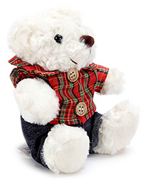 Play N Pets Bear With Stripes Print Shirt And Shorts Soft Toy - 15 Cm