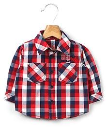 Beebay Red and Navy Check Full Sleeves Shirt