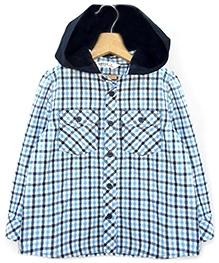 Beebay Full Sleeves Checks Hooded Shirt - Blue