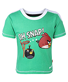 Angry Birds Green Half Sleeves Oh Snap Print T Shirt