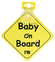 Mothercare Baby on Board Sign Board for Car - Yellow