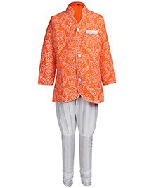 Babyhug Orange Leafs Print Full Sleeves Kurta And Chudidaar Pajama Set - Indo Western Pattern