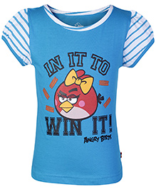 Angry Birds Blue Puff Sleeves Boat Neck T Shirt