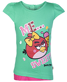 Angry Birds Green Cap Sleeves Printed T Shirt - Back Placket