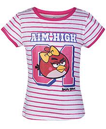Angry Birds Pink Half Sleeves Stripes Print T Shirt