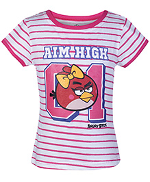 Angry Birds Pink Half Sleeves Stripes Print T Shirt