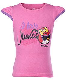 Angry Birds Pink Cap Sleeves Printed T Shirt - Contrast Sleeves Hem