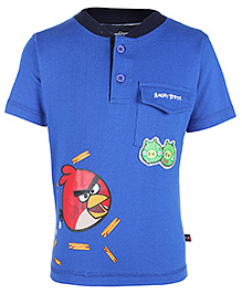 Angry Birds Blue Half Sleeves Front Placket T Shirt - Front Pocket