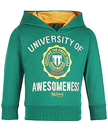 Ollypop Full Sleeves Hooded Jacket T Shirt - University Of Awesomeness Print