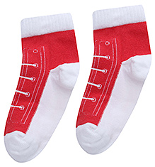 Mustang Shoe Lace Design Maroon Plain Socks