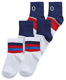 Mustang Multicolor Fashion Feet Plain Navy Blue Socks - Set Of 3 Pairs
