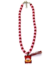 Bombaychic Red And Pink Beads Necklace With Teddy Bear Pendant
