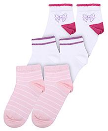 Mustang Fashion Feet Bow Print Socks - Set of 3