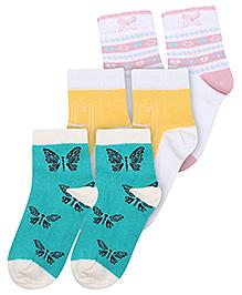 Mustang Fashion Feet 4 Butterfly Print Socks - Set of 3