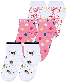 Mustang Fashion Feet Floral Print Socks - Set of 3