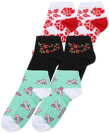 Mustang Fashion Feet Flower Print Socks - Set of 3