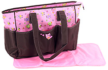 Carters Bird Print Mother Bag with Diaper Mat - Brown