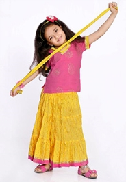 Yellow 3 to 6 Months, Traditional rajasthani lehenga choli set made from cotton...