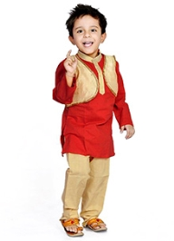 DotnDitto Kurta Pajama And Jacket Set - Red