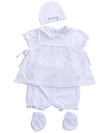 Babyhug White Rose Printed Baby Set