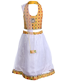 Babyhug Halter Neck Choli Lehenga And Dupatta Set - Yellow