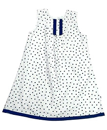 COO COO White Sleeveless Frock With Blue Stars