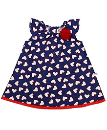 COO COO Sleeveless A Line Dress with Rosette - Heart Print