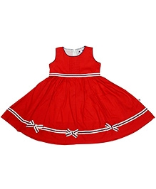 COO COO Red Sleeveless Umbrella Pattern Frock - Ribbon At Border