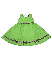 COO COO Green Sleeveless Umbrella Pattern Frock - Ribbon At Border