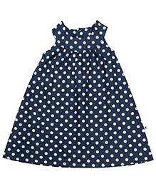 COO COO Navy Blue Sleeveless A Line Frock - Polka Dots Print