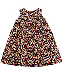 COO COO Navy Blue Sleeveless A Line Frock - Flower Print