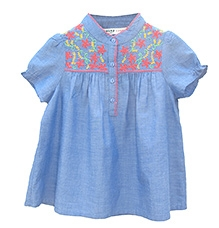 Beebay Blue Chambray Neon Embroidered Short Sleeves Top