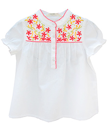 Beebay White Chambray Neon Embroidered Short Sleeves Top