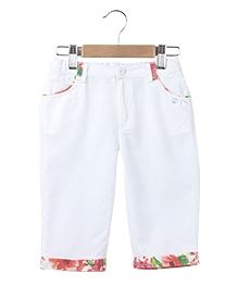 Beebay Linen Capri With Floral Trims