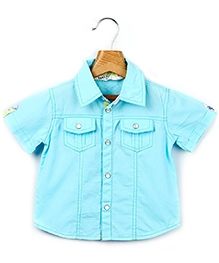 Beebay Half Sleeves Shirt With Snap Button Access - Blue