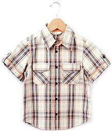 Beebay Contrast Piping Half Sleeves Shirt - Double Pockets