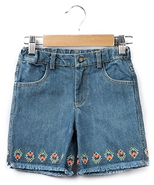 Beebay Canvas Flower Embroidered Shorts