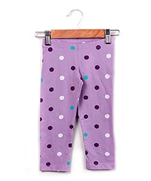 Beebay Purple Polka Dots Print Three Fourth Legging