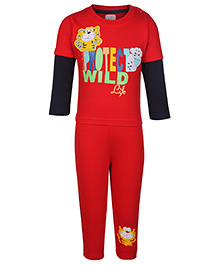 Ollio Kids Double Sleeves T Shirt And Legging - Tiger Patch Embroidery