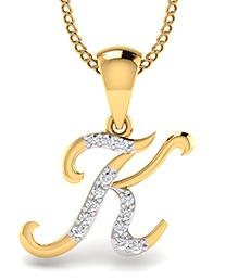 Mani Jewel Alphabet Collection 14Kt Gold Pendant - K Shape