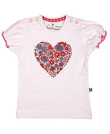 Buzzy Short Sleeves Top - Heart Print