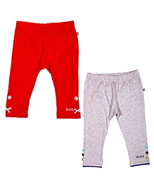 Buzzy Pack Of 2 Cotton Leggings - Red And Grey
