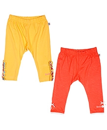 Buzzy Pack Of 2 Cotton Leggings - Yellow And Orange
