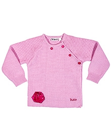 Buzzy Full Sleeves Raglan Pattern Sweater - Pink