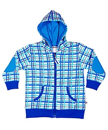 Buzzy Full Sleeves Hooded Jacket - Checks Design - 0 to 3 Months