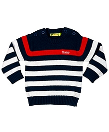 Buzzy Full Sleeves Pullover Contrast Stripes Design