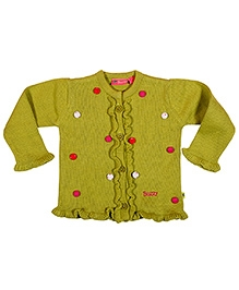 Buzzy Full Sleeves Sweater With Ruffled Bottom And Fancy Buttons